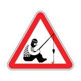 Pescador de la atención Señal de tráfico prohibitoria roja Peligro de Fishi ilustración del vector