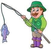 Pescador de la historieta con la barra y los pescados stock de ilustración