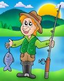 Pescador de la historieta con los pescados ilustración del vector