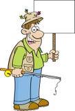 Pescador de la historieta que lleva a cabo una muestra libre illustration