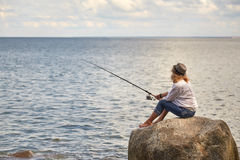 Pescador de la mujer foto de archivo libre de regalías