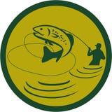 Pescador de salto Circle Retro de la mosca de la trucha stock de ilustración
