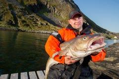 Pescador de sexo masculino que sostiene un bacalao enorme de los pescados Fotografía de archivo
