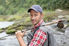 Pescador de sorriso foto de stock royalty free