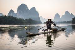 Pescador del cormorán Fotografía de archivo