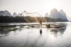 Pescador del cormorán que lanza una red Fotos de archivo