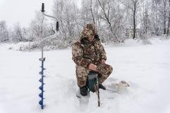 Pescador del invierno Fotografía de archivo