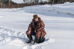Pescador del invierno Imagen de archivo libre de regalías