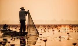 Pescador del lago Foto de archivo
