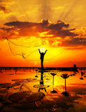 Pescador del lago Imagen de archivo