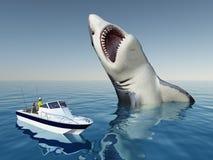 Pescador del mar y el tiburón de Megalodon stock de ilustración