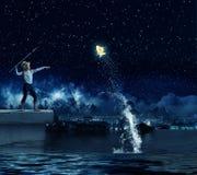 Pescador del niño Imagen de archivo libre de regalías