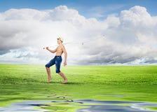 Pescador del niño Imagen de archivo