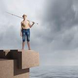 Pescador del niño Fotografía de archivo