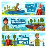 Pescador del vector y captura de pescados grande stock de ilustración