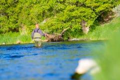 Pescador Deschutes River da mosca Fotografia de Stock Royalty Free