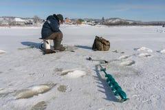 Pescador do inverno Imagens de Stock