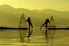 Pescador do lago Inle, Myanmar Foto de Stock Royalty Free