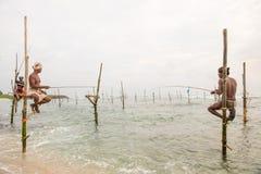 Pescador do pernas de pau em Koggala, Sri Lanka Imagem de Stock