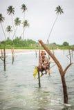 Pescador do pernas de pau em Koggala, Sri Lanka Foto de Stock Royalty Free