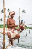 Pescador do pernas de pau em Koggala, Sri Lanka Imagens de Stock