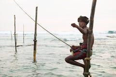 Pescador do pernas de pau em Koggala, Sri Lanka Fotografia de Stock Royalty Free