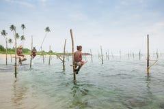 Pescador do pernas de pau em Koggala, Sri Lanka Fotografia de Stock