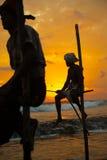 Pescador do pernas de pau em Koggala, Sri Lanka Foto de Stock