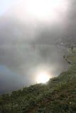Pescador e nascer do sol em pyrenees Foto de Stock