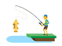 Pescador e peixes, ilustração do vetor Fotos de Stock Royalty Free