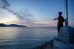Pescador em Ásia foto de stock