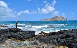 Pescador em Havaí Fotografia de Stock