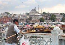 Pescador em Istambul fotografia de stock