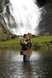 Pescador em um rio Foto de Stock Royalty Free