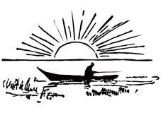 Pescador en barco ilustración del vector