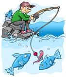 Pescador en el lado de mar que pesca estilo de la historieta fotos de archivo libres de regalías