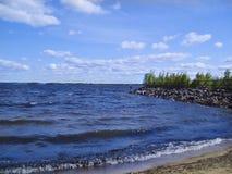 Pescador en el lago Foto de archivo