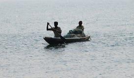 Pescador en el mar Imagen de archivo