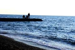 Pescador en el mar Imagen de archivo libre de regalías