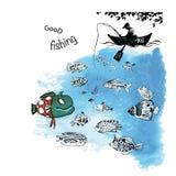 Pescador en la pesca en barco en el río stock de ilustración