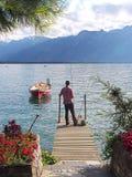 Pescador en Montreux, Suiza Foto de archivo libre de regalías