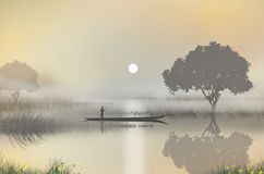 Pescador en un barco en el río de la mañana ilustración del vector