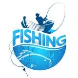 Pescador en un barco y un pescado libre illustration