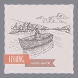 Pescador en un bosquejo del barco ilustración del vector