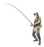 Pescador eufórico novo Foto de Stock