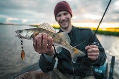 Pescador feliz fotos de stock royalty free