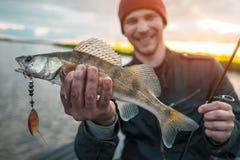 Pescador feliz imagem de stock