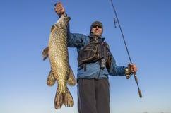 Pescador feliz que sostiene el trofeo y la ca?a de pescar grandes de los pescados del lucio foto de archivo