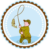 Pescador Fish On Reel Rosette Cartoon de la mosca Fotografía de archivo libre de regalías