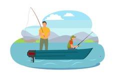 Pescador Fishing del ejemplo del vector del barco libre illustration